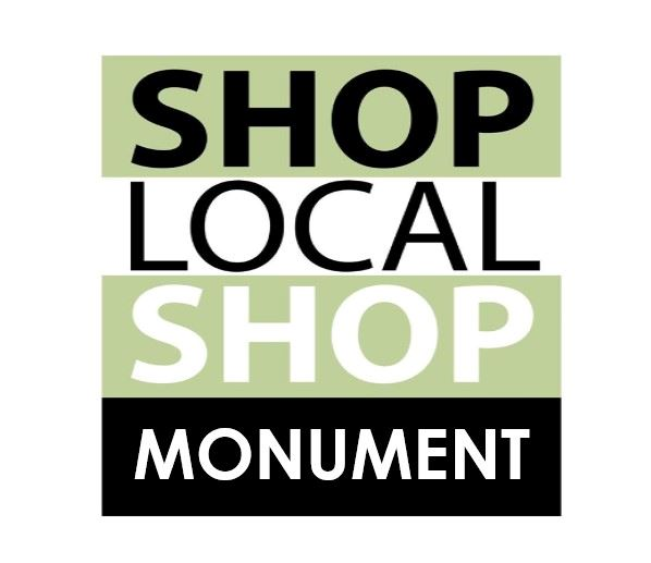 square that says Shop local Monument